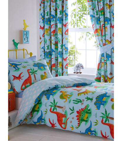 Dinosaur single reversible duvet cover set