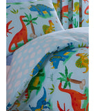 Dinosaur Friends single reversible duvet cover set