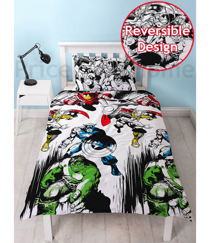 Marvel Comics Crop Single Reversible duvet cover set