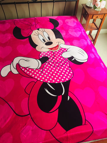 "Minnie Mouse ""Style"" Thick Single /king single mink blanket"