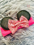 Minnie Glitter ears with sequin bow and pattern headband