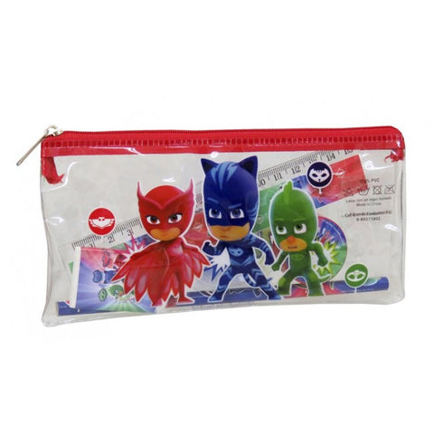 PJ Masks clear filled pencil case with stationery