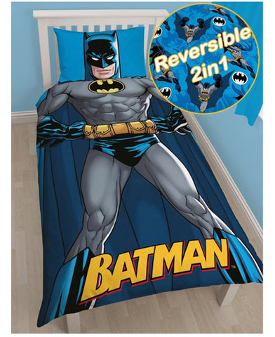 Batman cotton mix single reversible duvet cover set