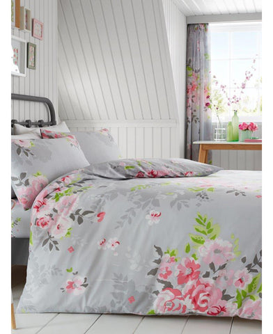 Alice Floral Double/Queen  Duvet Cover And Pillowcase Set - Grey And Pink