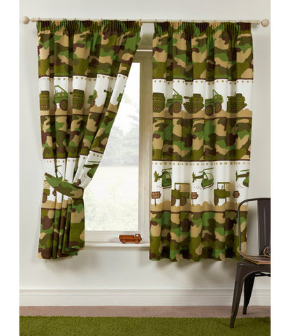 Army Camp Camouflage Lined Curtains 66in wide (168cm) and 54in drop (137cm)