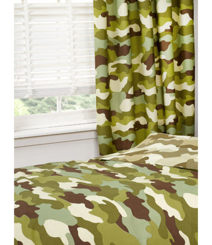 Army Camouflage Lined Curtains  66in wide (168cm) and 54in drop (137cm)