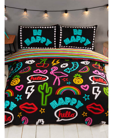 Be Happy Neon Double/Queen Duvet Cover and Pillowcase Set