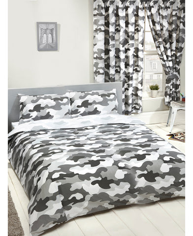 Grey Army Camouflage Reversible Double Duvet and Pillowcase Set