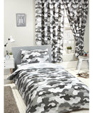 Grey Army Camouflage Reversible Single Duvet and Pillowcase Set