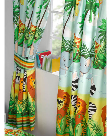 Jungle-Tastic Lined Curtains 66in wide (168cm) and 54in drop (137cm)
