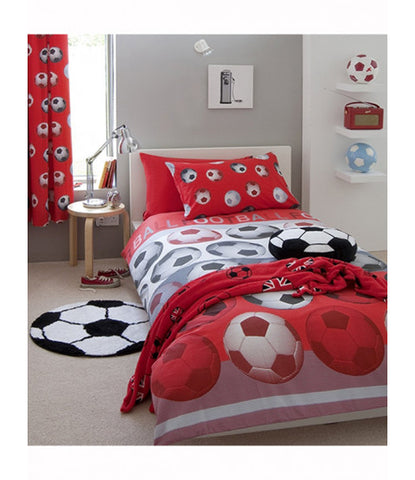 Catherine Lansfield Football Red Single Duvet Cover Set