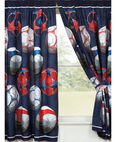 Blue Football Themed Lined Curtains  66in wide (168cm) and 72in drop (168cm)