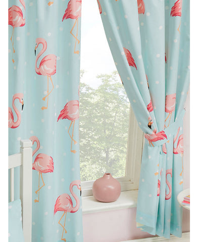 Fifi Flamingo Lined Curtains 66in wide (168cm) and 54in drop (137cm)