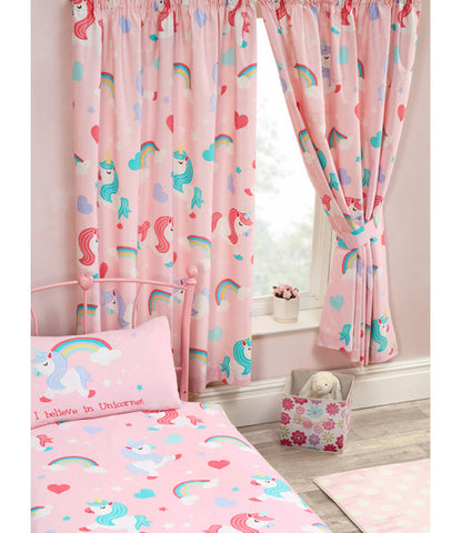 I Believe In Unicorns Lined Curtains 66in wide (168cm) and 54in drop (137cm) -