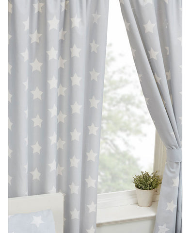 Grey And White Stars Lined Curtains 66in wide (168cm) and 54in drop (137cm)