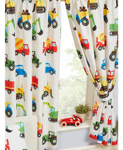 Trucks and Transport Lined Curtains -66in wide (168cm) and 72in drop (168cm)