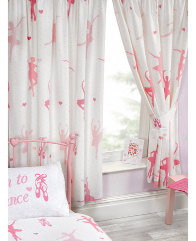 Born To Dance Ballerina Lined Curtains 66in wide (168cm) and 54in drop (137cm)
