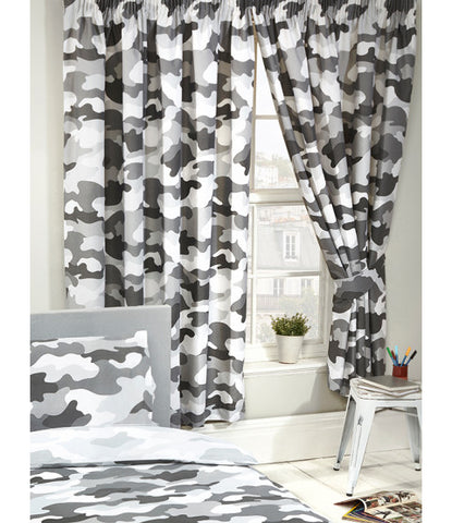 Grey Army Camouflage Lined Curtains - 66in wide (168cm) and 54in drop (137cm)