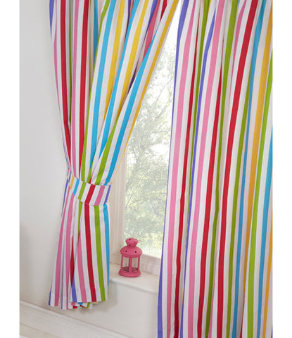 Rainbow Sky Striped Lined Curtains 66in wide (168cm) and 72in drop (183cm)