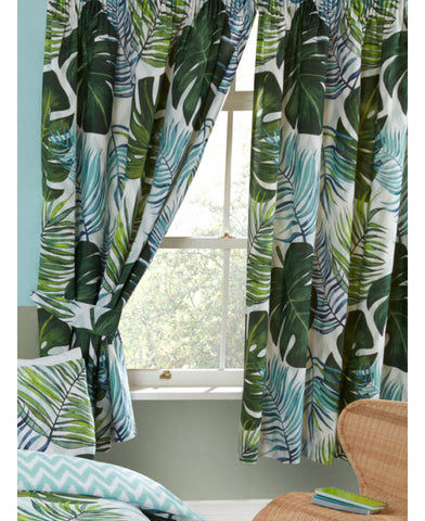 Tropical Palm Leaves Lined Curtains 66in wide (168cm) and 54in drop (137cm)