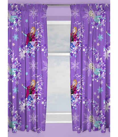 Disney Frozen Snowflake Curtains 66in wide (168cm) and 54in drop (137cm)