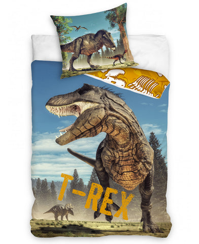 T-Rex Dinosaur Single Cotton Duvet Cover Set - European pillowcase