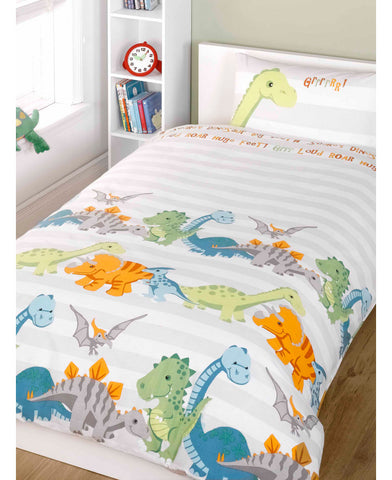 *NEW* Dinosaurs Single Duvet Cover and Pillowcase Set - Natural