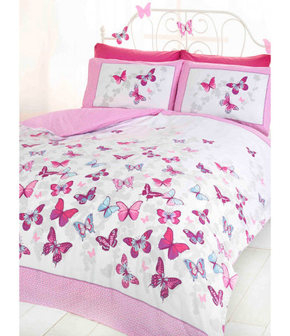 Butterfly Flutter Single Duvet Cover and Pillowcase Set - Pink