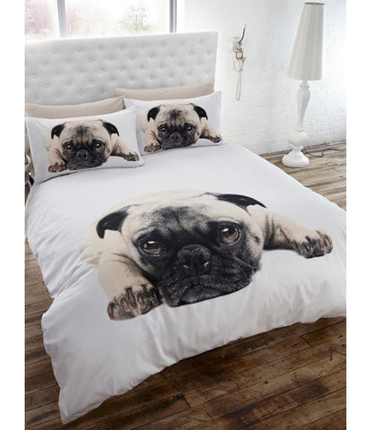 Pug Double Duvet/Queen Cover and Pillowcase Set