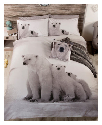 Polar Bear Family Double/Queen Duvet Cover And Pillowcase Set
