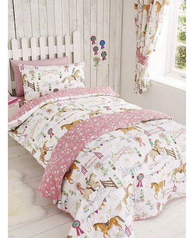 Trotting Horses Double/ Queen Duvet Cover and Pillowcase Set