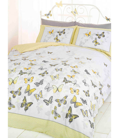 Butterfly Flutter King Size Duvet Cover and Pillowcase Set - Lemon