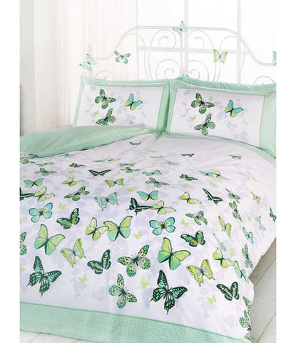 Butterfly Flutter Single Duvet Cover and Pillowcase Set - Green