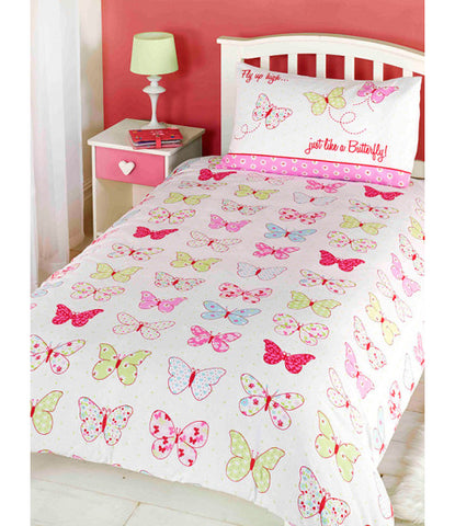 Fly Up High Butterfly Cot/ Junior /Toddler Bed Duvet Cover & Pillowcase Set