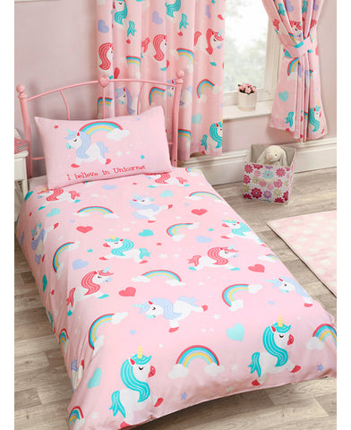 I Believe in Unicorn Cot/Toddler/ Junior Duvet Cover and Pillowcase Set