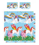 Rainbow Unicorns Double/Queen Duvet Cover and Pillowcase Set