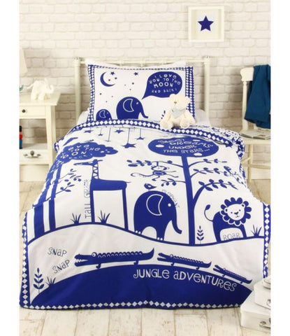 Jungle Adventure Single Duvet Cover Set - Blue