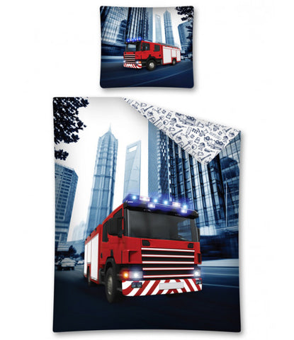 Fire Truck Single Cotton Duvet Cover Set