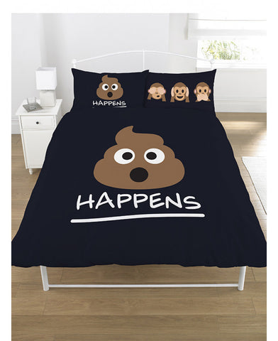 Emoji Mr Poo Double Duvet/Queen Cover And Pillowcase Set - Black