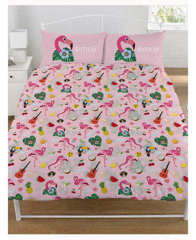 Emoji Flamingo Reversible Double/Queen Duvet Cover and Pillowcase Set