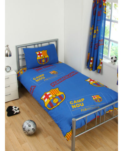 FC Barcelona Patch Single Duvet Cover and Pillowcase Set