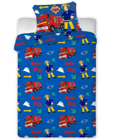 Fireman Sam Blue Single Duvet Cover Set