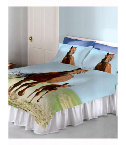Follow My Lead Horse & Foal Double/Queen Duvet Cover and Pillowcase Set