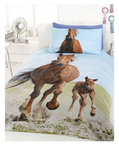 Horse & Foal Single Duvet and Pillowcase Set