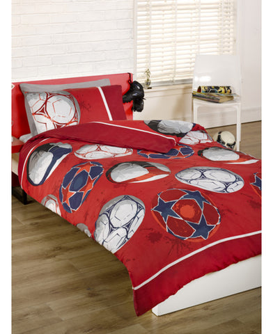 Football Single Duvet Cover and Pillowcase Set - Red