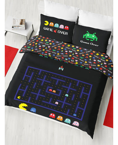 Pacman & Space Invaders / Retro Games Double/Queen Duvet Cover and Pillowcase Set