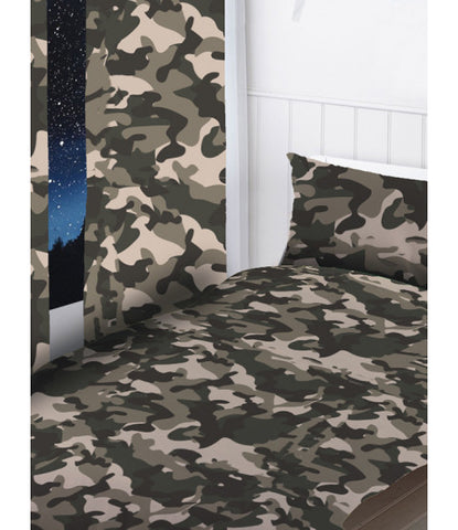 Grey Camouflage Curtains 66in wide (168cm) and 54in drop (137cm)