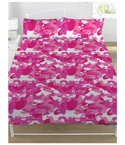 Pink Camouflage Double/Queen Duvet Cover and Pillowcase Set