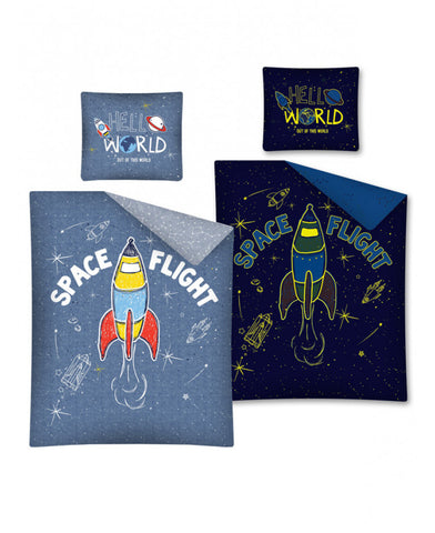Space Flight Glow In The Dark Single Cotton Duvet Cover Set