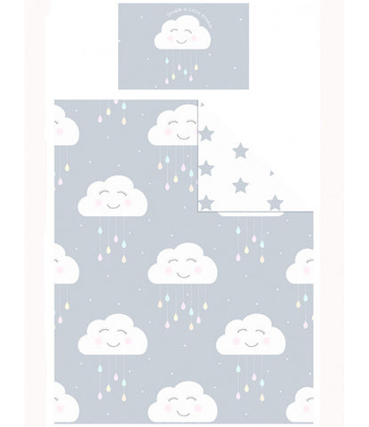 Happy Clouds Junior Cot/ Toddler/Junior Duvet Cover and Pillowcase Set
